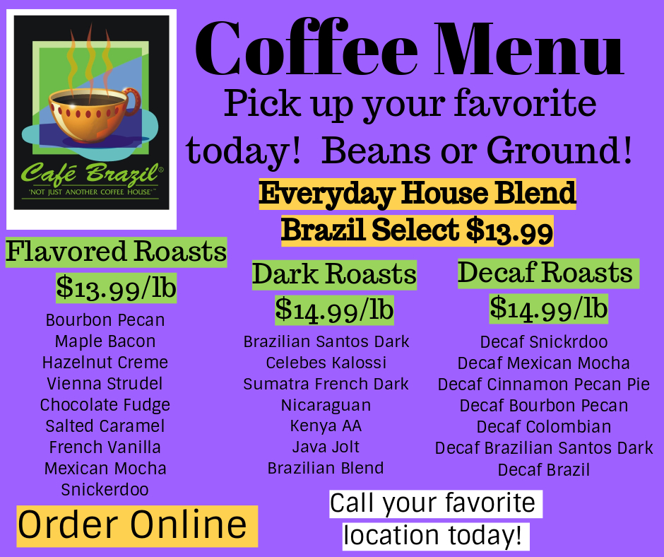 cafe brazil coffee menu